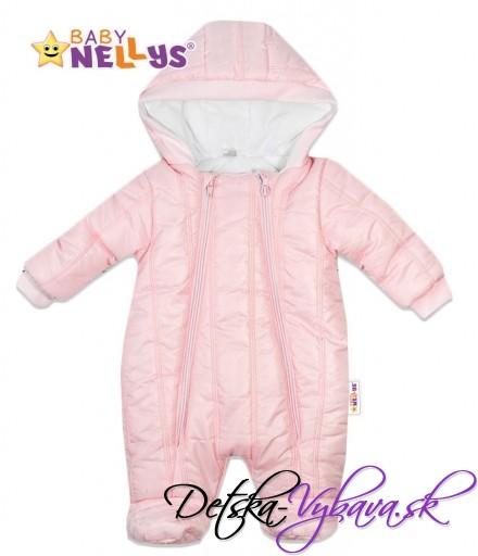 c87ed5440 Kombinézka s kapucňu LUX Baby Nellys ®prešívaná - ružová - Detské a ...